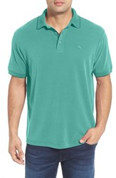 Men's Tommy Bahama 'New Pebble Shore' Short Sleeve Polo Alpine Pool Green
