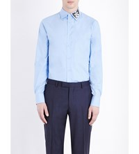 Alexander Mcqueen Slim Fit Butterfly Embroidered Cotton Shirt Cerulean