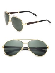 Montblanc 62Mm Metal Aviator Sunglasses Gold