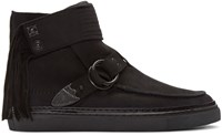 Toga Virilis Black Nubuck Western High Top Sneakers