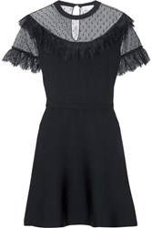 Red Valentino Redvalentino Lace And Point D'esprit Paneled Stretch Knit Mini Dress Black