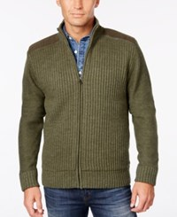 Weatherproof Vintage Men's Big And Tall Ribbed Zipper Cardigan Only At Macy's Olive