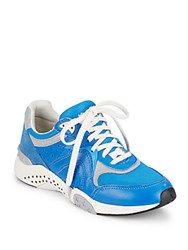 Ash Hendrix Leather And Suede Mesh Sneakers Royal Blue