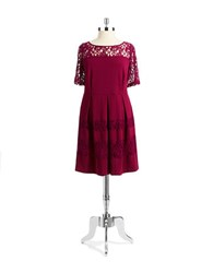 Gabby Skye Plus Illusion Neck Fit And Flare Dress Ruby