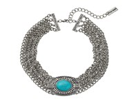 Steve Madden Oval Turquoise Stone W Four Row Chain Choker Necklace Silver Necklace