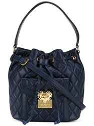 Love Moschino Quilted Bucket Tote Blue