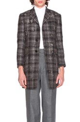 Thom Browne Distressed Tartan Tweed Coat In Gray Checkered And Plaid Gray Checkered And Plaid