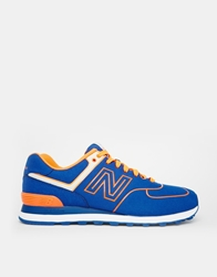 New Balance 574 Neon Pack Trainers Blue
