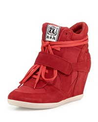 Ash Bowie Suede Wedge Sneaker Coral