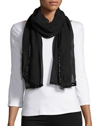 Collection 18 Sheer Embellished Scarf Black