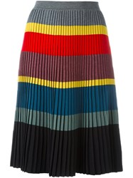 Tomas Maier Thick Stripes Pleated Skirt Multicolour