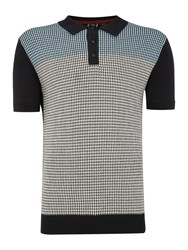Merc Parish Dogtooth Knitted Polo Black