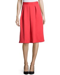 Neiman Marcus Inverted Pleat A Line Scuba Skirt Prairie Sunset