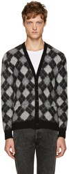 Saint Laurent Black And White Argyle Cardigan