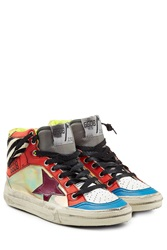 Golden Goose High Top Sneakers With Leather And Calf Hair Multicolor