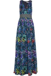Matthew Williamson Printed Silk Chiffon Gown Blue
