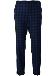Alberto Biani Checked Crop Trousers Blue