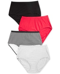 Hanes Platinum Cotton Brief 4 Pack 40C4b1 Red Black Assorted