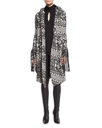 Haute Hippie Multipattern Hooded Leather Trim Coat Black White Black Multi