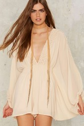 Nasty Gal Collection Dolman Out Plunging Romper Beige