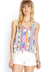 Forever 21 Layered Tribal Print Tank Mint Pink