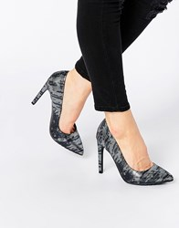 Blink Lizard Print Court Shoes Pewter Metal Lizzard Grey