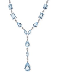 Effy Collection Aquarius By Effy Aquamarine 15 7 8 Ct. T.W. And Diamond 1 2 Ct. T.W. Necklace In 14K White Gold Blue