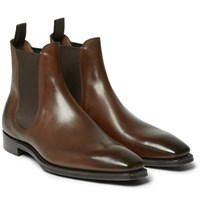 Gaziano And Girling Burnham Burnished Leather Chelsea Boots Chocolate