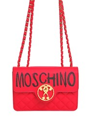 Moschino Logo Quilted Leather Shoulder Bag