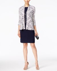Jessica Howard Printed Sequined Jacket And Sheath Dress Navy