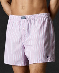 Polo Ralph Lauren Men's Underwear Woven Boxer Pink Stripe