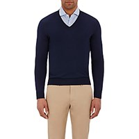 Barneys New York Men's V Neck Sweater Navy