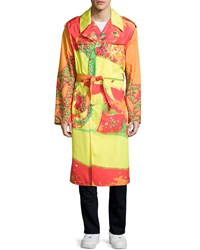 Versace Long Sleeve Printed Coat Fuchsia Orange Pink Orange