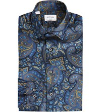 Duchamp Tailored Fit Paisley Print Silk Shirt Blue