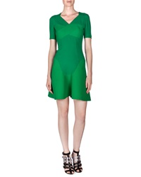 Roland Mouret Redworth Pique Inset Flounce Dress Kelly Green