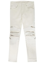 God's Masterful Children White Panelled Skinny Biker Jeans