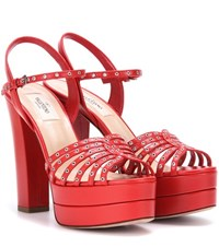 Valentino Platform Leather Sandals Red