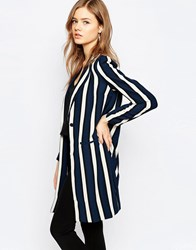 Selected Striped Blazer Striped Bla Navy