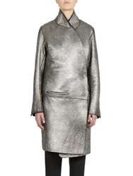 Ann Demeulemeester Long Sleeve Leather Coat Black Silver