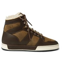 Ralph Lauren Purple Label Blayne Panelled Leather And Shearling High Top Sneakers Brown