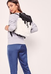 Missguided Faux Fur Backpack White