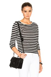 Frame Denim Pin Tuck Long Sleeve Tee In White Blue Stripes White Blue Stripes