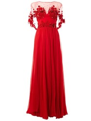 Zuhair Murad Embellished Rose Pattern Gown Red