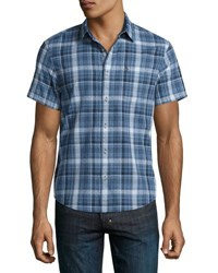 Original Penguin Short Sleeve Dobby Plaid Shirt Dark Blue