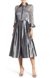 Eliza J Women's Mixed Media Fit And Flare Dress