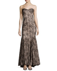 Mandalay Strapless Lace Gown Black Nude
