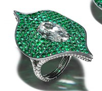 Bayco Diamond And Emerald Foglia Ring Green