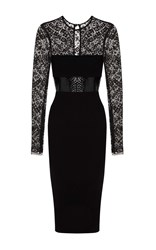 Alex Perry Mabelle Lace Long Sleeve Plastic And Satin Crepe Pencil Dress Black