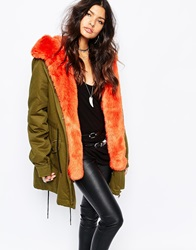 Faux London Parka Coat With Faux Fur Lining Khakiorange