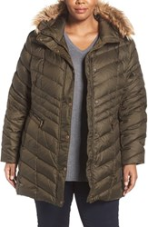 Andrew Marc New York Plus Size Women's 'Renee' Chevron Quilted Coat With Faux Fur Trim Hood Dark Olive